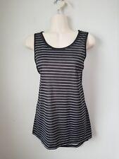Nwt Womens Exertek Black White Striped Exercise Athletic Tank Top Shirt Small S