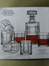 Studio by Godinger Clear Crystal Decanter and Cocktail Glass Set (Set of 7)
