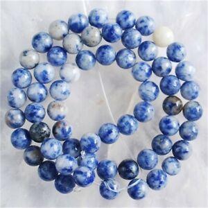 "VD2823-n 6mm White Spot Sodalite Ball Loose Beads 15"""
