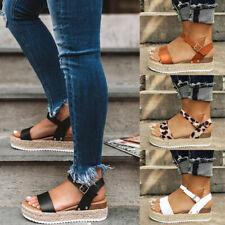 Women Platform Sandals Espadrille Ankle Strap Casual Summer Open Toe Shoes Size