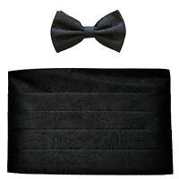 NEW in box 100% polyester paisleys Cummerbund & bowtie set wedding Black