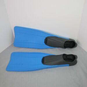 Cressi Clio Full Foot Swim Fins Blue Black Mesh Bag Made in Italy Size 10-11