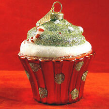 "Cupcake Shaped Blown Glass Xmas Tree Ornament Glitter Holiday Decor 3.5"" Tall"