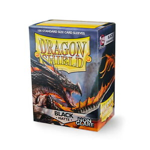 DRAGON SHIELD - Non-Glare BLACK Standard Card Sleeves Pack of 100 #AT-11802