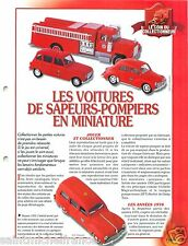 FICHE Voiture Miniature de Collection Car Solido Sapeurs Pompiers  FIREFIGHTER