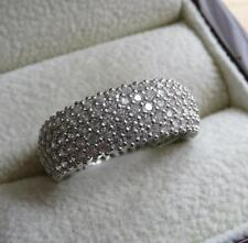 SPARKLING CUBIC ZIRCONIA 925 STERLING SILVER BAND OR THUMB RING SIZE Q 8.5