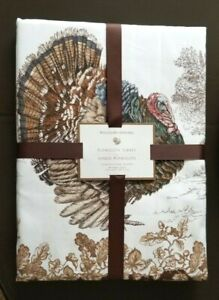 """Williams Sonoma PLYMOUTH TURKEY Tablecloth 90"""" ROUND NEW Thanksgiving Fall #46"""