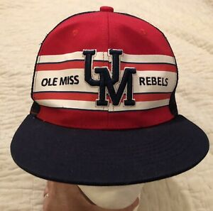 Ole Miss Rebels UM Raised Embroidered Logo Red & Blue Trucker Hat Cap Mesh NWT