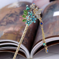 Chinese Style Rhinestone Hair Sticks Pin Tassel Hair Clips Chignon Hairpin