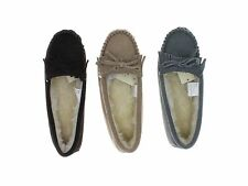 Sonoma Women's Genuine Suede Leather/Faux Fur Fringe Moccasins Slippers