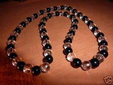 COLLIER TOURMALINE NOIRE&QUARTZ  perles  6mm Reiki