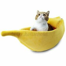 Banana Shape Pet Dog Cat Bed House Fluffy Warm Soft Sleep Plush Fleece Be