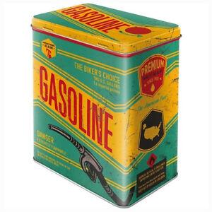 Large Retro Storage Tin Metal Box GASOLINE Americana Bikers Choice Licensed 3L