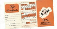 1974 San Francisco Giants Schedule (team issue) near mint (see scan)