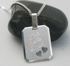 Gravur Partner Anhänger Ich liebe dich Wunschgravur Herz Kette Echt Silber Neu