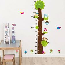Monkey Owl Tree Height Chart Measurment Kids Room Wall Decals Vinyl Stickers DIY