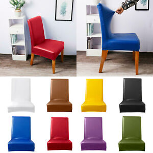 1/4/6 pcs PU Leather Stretch Dining Room Chair Cover Wedding Banquet Seat Case