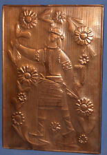VINTAGE COPPER WALL DECOR PLAQUE GIRL WITH FOLK COSTUME
