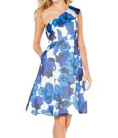 Adrianna Papell Womens A-Line Dress Blue Size 6 Floral One Shoulder $229- 055