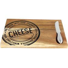 28 CM Board + Juego de cuchillo de picar rebanar cortar queso Cocina Madera de Acacia NUEVO