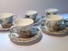 BRITISH ANCHOR ENGLAND RARE VILLAGE GREEN TEA SET FOR 6 FLAT BOTTOM CUPS