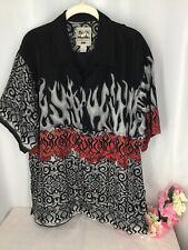 STEVE & BARRY'S Classic Hawaiian Shirt , BLACK SS BUTTON FRONT, SZ L I24