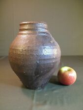 Antique Japanese Brown Glazed Food Container Jar/Pot Vase with Signature