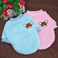 Dog Fleece Coat Clothes Jumper Pug Chihuahua Pet Puppy Cat Sweater Blue Pink