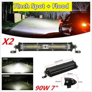 90W Car Aluminum Spot+Flood Beam Combo LED Work Light Bar Driving Fog Light X2