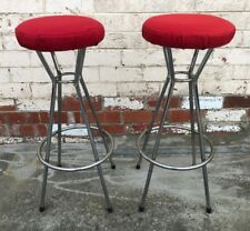 Retro Pongrass Metal Tall Backless Bar Stool Chairs Red x2
