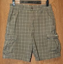 Mens Green Plaid Wrangler Flat Front Cargo Shorts Size 30 excellent