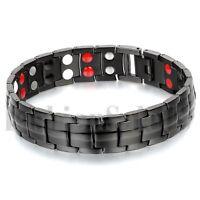 Men's 15mm Wide Black Stainless Steel Magnet Health Wristband Bracelet Chain
