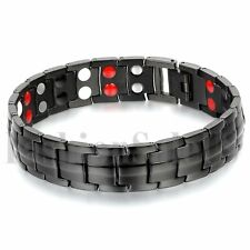 Men's 15mm Wide Black Stainless Steel Magnet Health Wristband Bracelet Chain