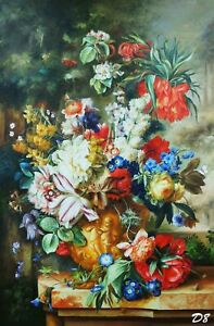 Vertical Still Life with Flower, Wall Decoration, Signed Original Oil Painting
