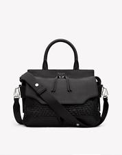 NWT $895 Rag & Bone Woven Pilot Satchel Shoulder Bag in Black Leather