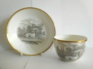 ANTIQUE SPODE PORCELAIN CUP AND SAUCER BAT PRINTED WITH TWO GREYHOUNDS