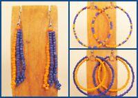 WHOLESALE LOT 50 Orange Blue Handmade Beaded Hoop Dangle Earrings TEAM COLORS