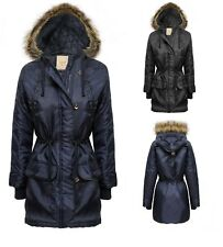 LADIES PARKA JACKET QUILTED FUR HOODED ZIP WOMENS TOGGLE BUTTON COAT 8-20