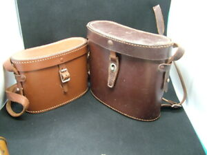 Leather Binoculars Cases. Pair Different Sizes. One by Ross.