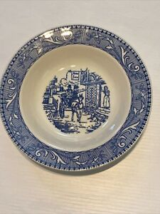Vintage Homer Laughlin SHAKESPEARE COUNTRY Rimmed Soup Bowl Scrolls Blue