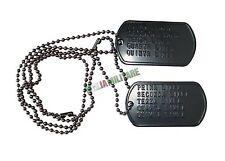 Piastrine Militari PERSONALIZZATE in Metallo con Catenella Dog Tags - Nere Nero
