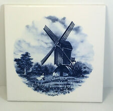 Vintage Dal Tile Daltile 6 x 6 Blue and White Windmill Swan Scene made in Mexico