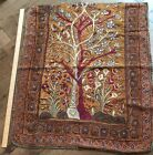 19c India Tree of Life TAPESTRY PANEL Wool Work Hand Embroidery Museum Piece NR