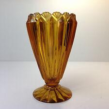 Vintage CROWN CRYSTAL Amber Depression Glass Vase Scallop Shell Edge
