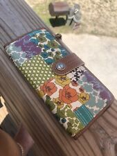 FOSSIL Floral Leather Bifold Wallet Clutch Checkbook Long