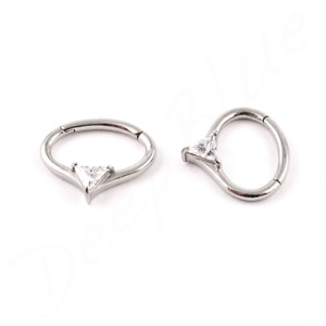 SURGICAL STEEL Curved HINGED JEWELLED TRILLION RING 1.2 x 6mm Daith Ear Septum