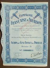 Comp. Francaise D'Aviation 1930 100 Francs unentwertet + Kupons