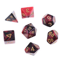 7x Polyhedral Dice D20 D12 D10 D8 D6 D4 for  Red & Black