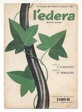 Spartito L'EDERA Nilla Pizzi Tonina Torrielli Festival Sanremo 1958 Sheet