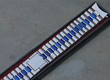 NSA watch band blue & steel 2-pc clasp Swiss NSA straight or curved ends 4 sold